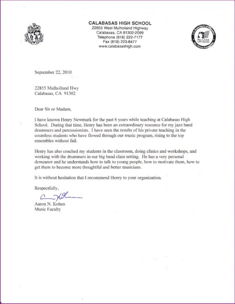 Calabasas High School letter