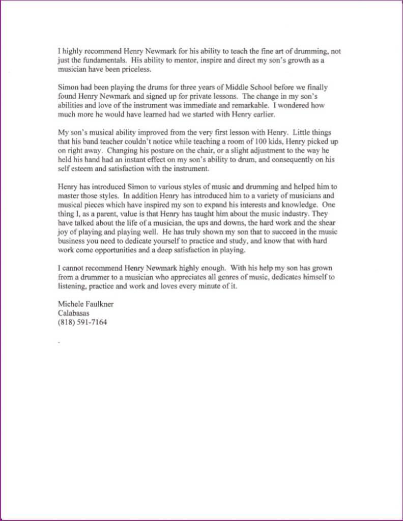 Michele Faulkner letter