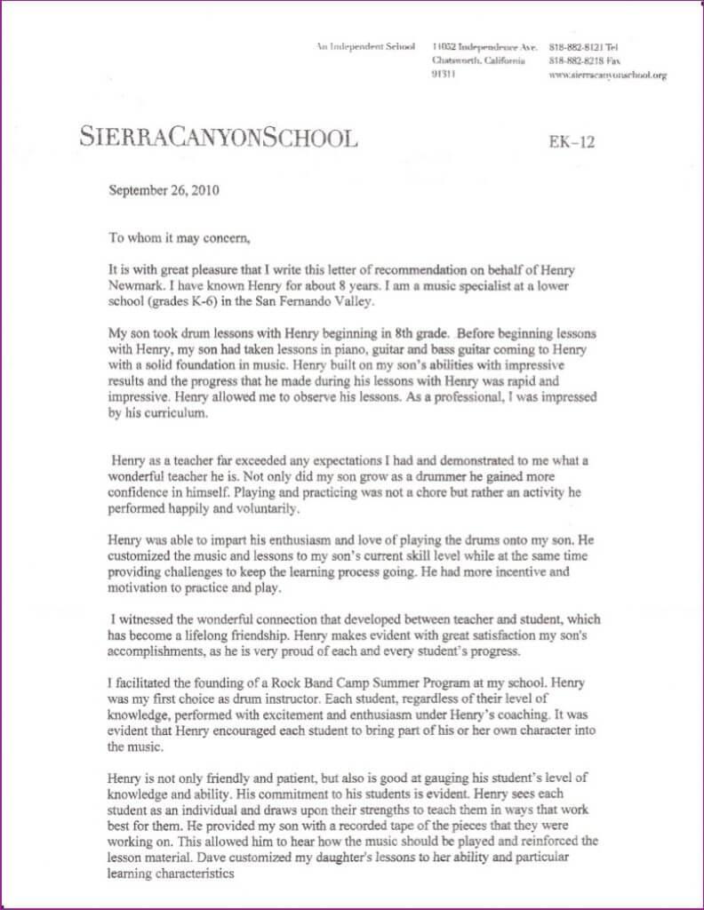 Sierra Canyons School letter