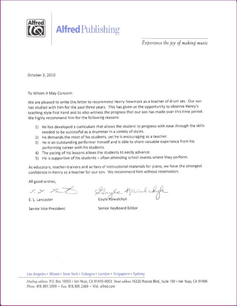 Alfred Publishing letter
