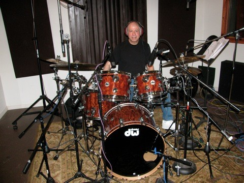 Henry playing dw drums in studio