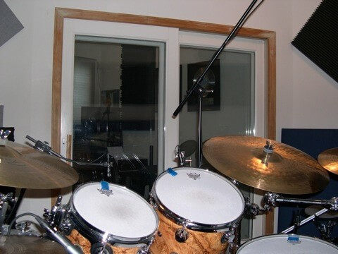 studio drums and cymbals from player perspective
